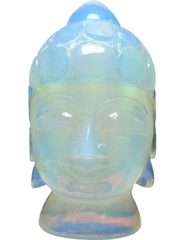 Opalite Feng Shui Meditating Gautama Buddha Head Idol for Peace and Serenity Happy Man for Good Luck, Wealth, Prosperity at Home,Office (342 Gram)