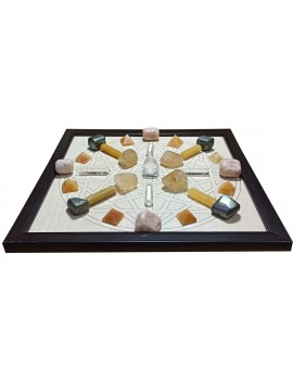 Personal Healing Crystal Grids Laminate Board Lazer C.N.C. Engraved Frame Crystal Grid For Prosperity Healing Reiki 9.5 x 9.5 Inches