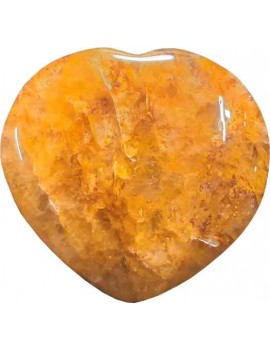 Golden Quartz Heart Shape Stone Healing Crystal Cabochon For Pendant 02