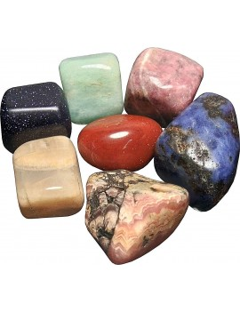 Natural Energized Mix Tumble Stone Like Rhodochrosite, Sodalite, Amazonite, Rhodonite, Moonstone, Blue Goldstone(Sandstone), Red Jasper (Set Of 7 Piece) 04