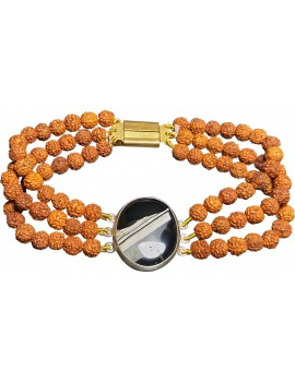 Black Hakik Agate With Rudraksh Three Strand Unisex Crystal .925 Sterling Silver Bracelet (8.5 Inches)