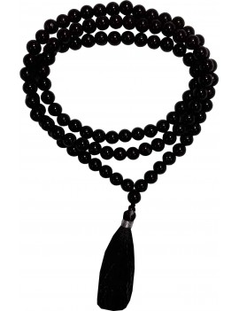 Black Tourmaline 108 Bead Healing Crystal Mala (Bead Size 6 To 7 MM)