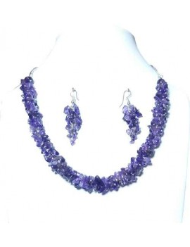 Amethyst Chip Stones Healing Crystal Necklace With Earrings
