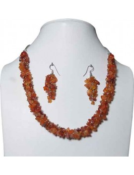 Carnelian Chip Stones Healing Crystal Necklace With Earrings