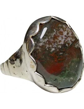 Bloodstone Crystal Adjustable Ring In .925 Sterling Silver