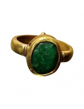 Green Emerald (Panna) Healing Crystal Ring In Brass