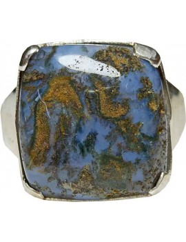 Mose Agate Crystal Adjustable Ring In .925 Sterling Silver 02