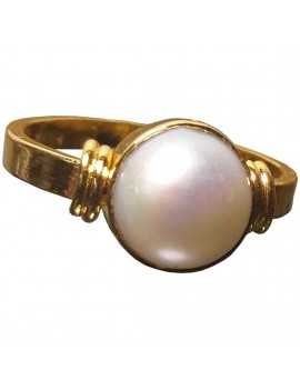 Freshwater White Pearl (Moti) Healing Crystal Ring In Brass