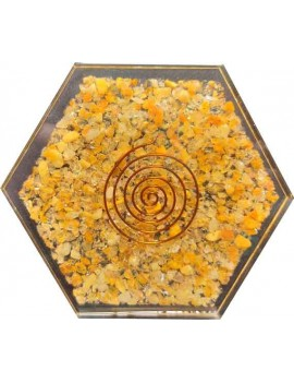 "Golden Quartz Orgonite Coaster Water Charging Plate Energy Healing 3.5"" Inches"