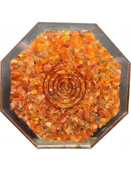 "Carnelian Orgonite Coaster Water Charging Plate Energy Healing 4"" Inches"