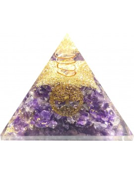 Amethyst With Tree Of Life Healing Crystal Orgonite Pyramid (200 Gram)