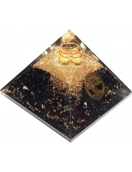 Black Tourmaline With Tree Of Life Healing Crystal Orgonite Pyramid (215 Gram)