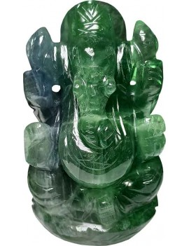 Fluorite Ganesha Green Idol for Peace and Serenity Happy Man for Good Luck, Wealth, Prosperity at Home,Office (294 Gram)