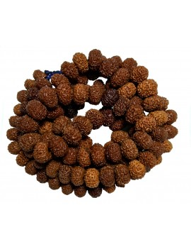 Original & Natural Nine Faced / 9 Mukhi Rudraksh Mala/Rosary Energised 108 Beads (Bead Size 7 MM) For Japa/Meditation
