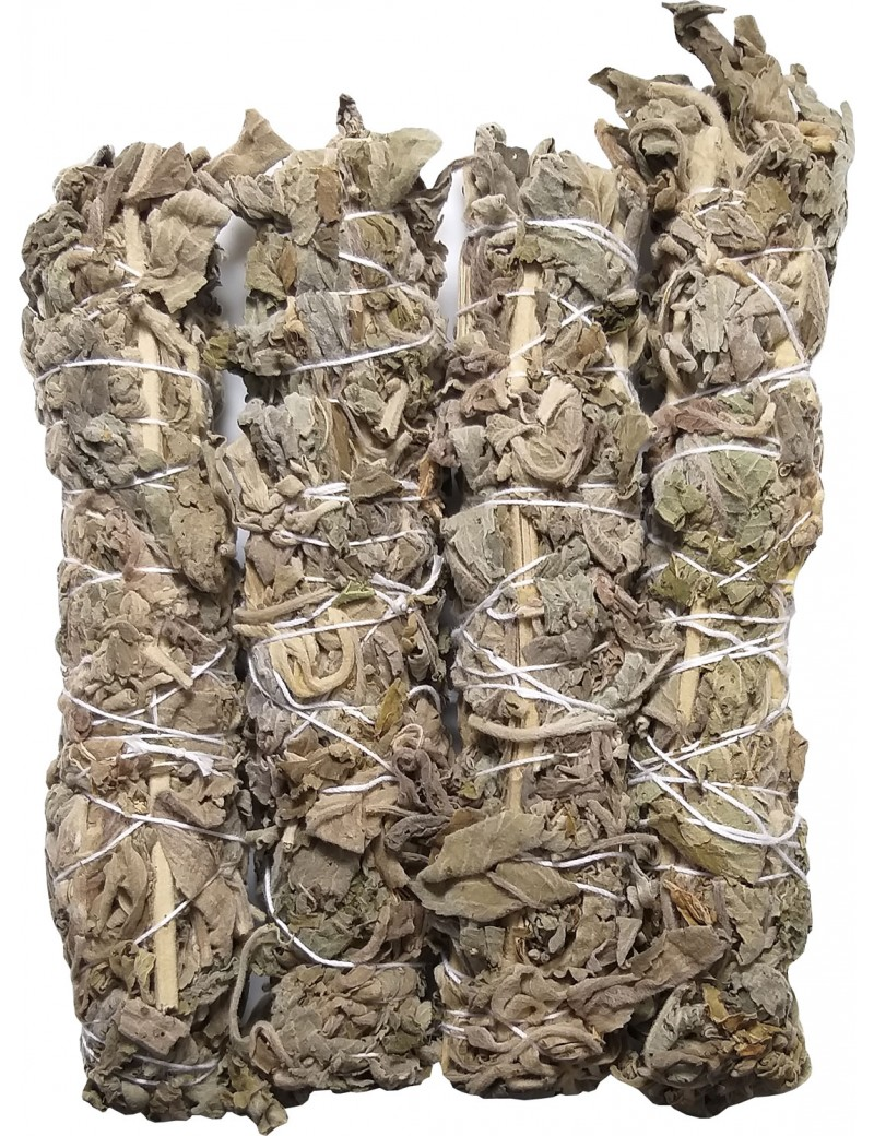"Dried White Sage Smudging Stick 6"" To 7"" Inches (Pack Of 4 Sticks 100 Gram Black Tourmaline Stone Free With Sage)"